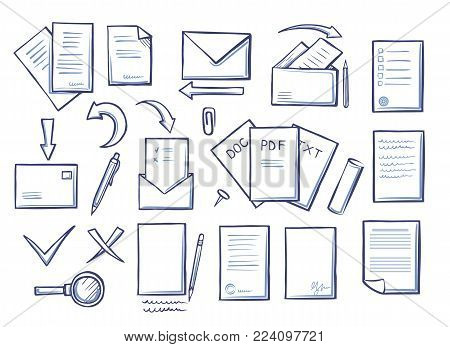 Office papers set of colorless icons, magnifying glass, arrows and letter in envelope, pdf and doc with text files, isolated on vector illustration