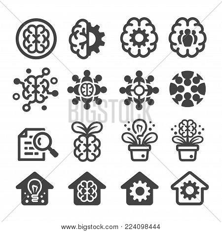 think tank icon set knowledge icon vector illustration