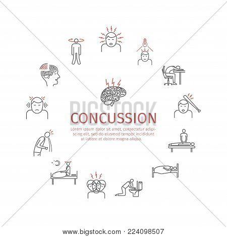 Concussion. Symptoms. Line icons set. Vector signs for web graphics