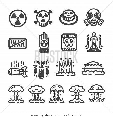 nuclear icon set war icon vector illustration