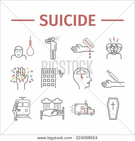 Suicide line icon. Vector sign for web graphic.