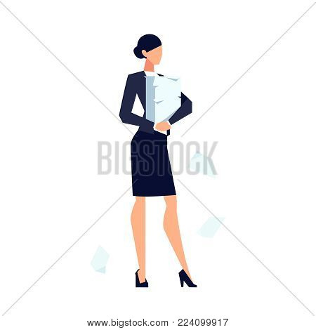 Businesswoman in a flat style isolated on white background. Office worker stands with a pile of business papers in his hands. Vector illustration.