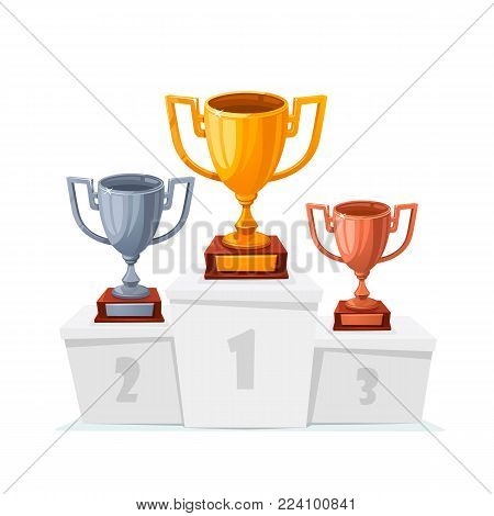 Gold, silver, bronze trophy cups. Winner goblet on podium. Cartoon style trophy cups on white pedestal isolated.. 1st, 2st, 3st place. Handing awards to winner. Vector illustration
