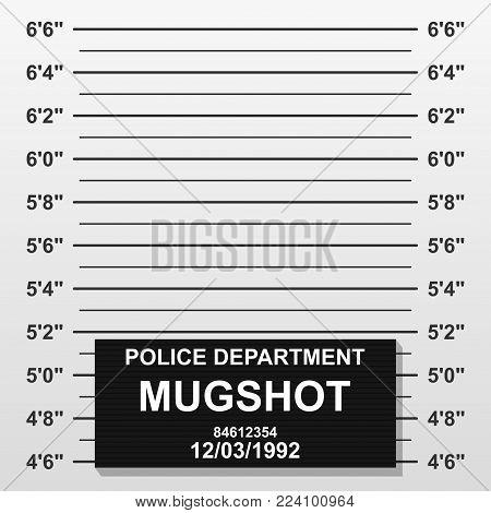 Criminal mug shot line. Police mugshot add a photo. Blank criminal police lineup with centimeter scale for photograph. Vector illustration