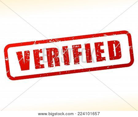 Illustration of verified stamp on white background