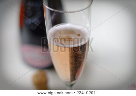 Champagne glass with noble champagne and vignette