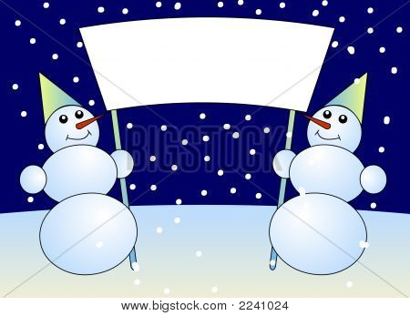 2D Illustration Of The Snowmen Holding An Empty Sign