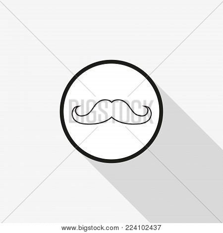 Vector icon mustache with a long shadow