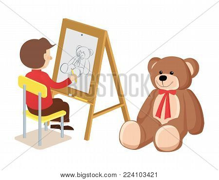 Boy drawing teddy bear with red ribbon on neck, easel and sketch of kid, sitting on chair, poster vector illustration isolated on white background