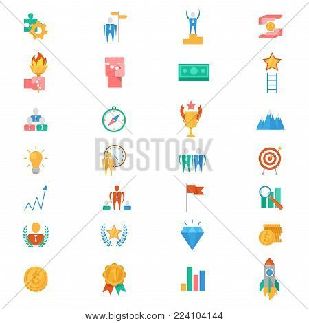 Motivation icons vector motivated business signs to inspire for achievement goals and success illustration of motivational set isolated on white background.