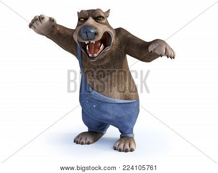3D rendering of a cartoon bear looking very angry, ready to attack. White background.