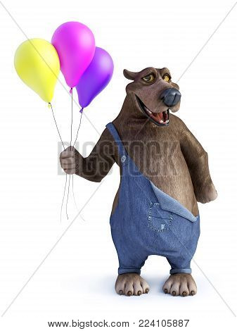 3D rendering of a charming smiling cartoon bear holding three balloons in his hand. White background.