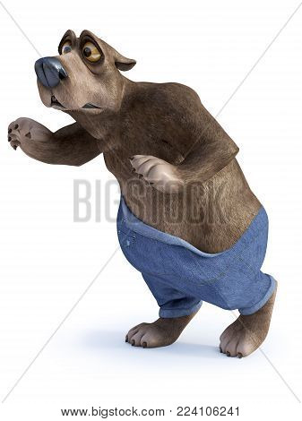 3D rendering of a cartoon bear looking like he is trying to sneak in silence and getting caught red-handed. White background.