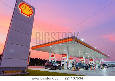 Chachoengsao, Thailand - Jan 28, 2018: Shell gas station blue sky background during sunset. Royal Dutch Shell sold its Australian Shell retail operations to Dutch company Vitol in 2014