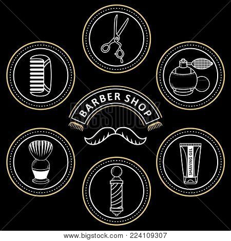 vector flat barber shop tools set. scissors, comb, shaving brush, barber pole, hairdresser sprayer after shave gel icon. Isolated illustration black background for your logo, brand design