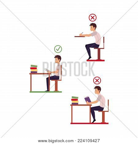 Correct, incorrect neck, spine alignment of young cartoon man character sitting at desk writing, reading. Head bending positions, inclination of neck. Spine care concept. Vector isolated illustration