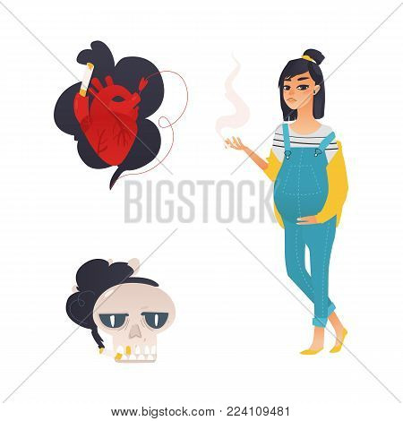 Vector flat danger, risk of smoking concept icon. Smoking pregnant young woman, girl with cigarette, smoking heart, skull. Nicotine addiction, cancer disease, social advertisement design illustration