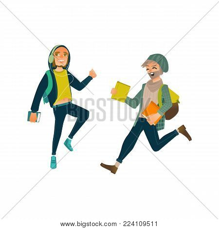 Vector cartoon young male teen students jumping set. Happy men in modern casual clothing, jeans, headphones holding books backpack university college character. Isolated illustration, white background