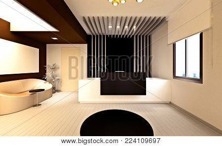 3d render of modern office entrance view