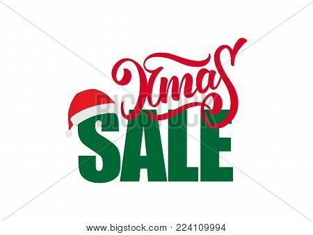 Vector illustration: Composition of lettering with Xmas Sale and Santa Claus hat isolated on white background