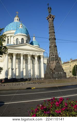A view of the Column of Glory and Trinity Cathedral in St. Petersburg