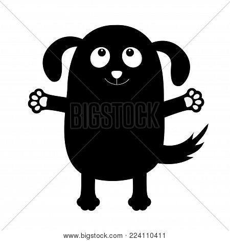 poster of Dog puppy face black silhouette holding hands up. Pet collection. Pooch, paw print hug. Flat design. Cute cartoon funny character. White background. Isolated. Vector illustration