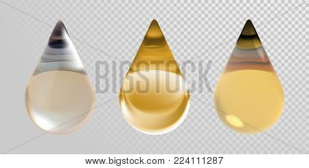 Gold oil drops isolated on transparent background. Vector 3d realistic clean oil essence droplets for cosmetic design