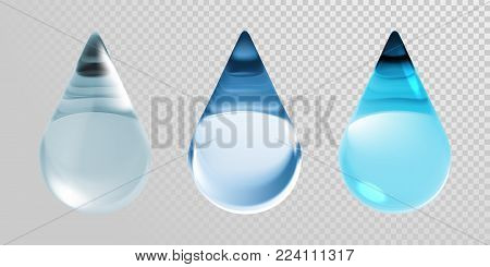 Water drops isolated on transparent background. Vector 3d realistic clean blue water droplets for moisturizer cream or hyaluronic essence and skincare collagen cosmetic or earth nature ecology design
