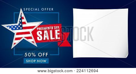 Presidents Day sale banner template. Happy Presidents Day Sale discount labels for web banner special offer vector illustration