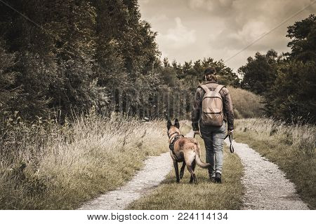 a woman with a Belgian Malinois shepherd. Post apocalypse. walking with his dog. a path in a forest