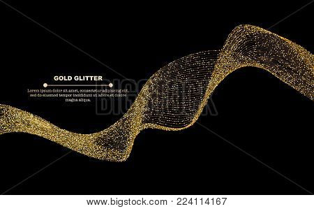 Gold glitter flow abstract golden glitter lines isolated on black background, vector illustration. Sparkling gold dots wave with space for text for banners, party invitations, glitter gold wave graphic design.