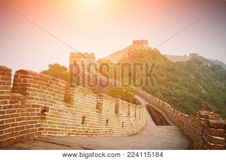 Great Chinese Wall in yellow tone at sunny day in Beijing, China