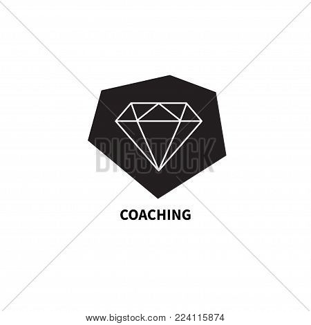 Icon coaching. Logo coach, diamond in stone. Concept of change, improvement, growth, development Vector illustration