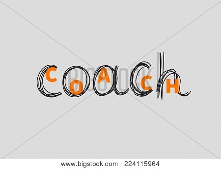 Hand drawn word coach. Icon, logo, sign, symbol personal coaching. Success in business. Vector illustration