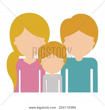 half body faceless people with woman with pigtail hairstyle and man and boy both with short hair in colorful silhouette without contour vector illustration