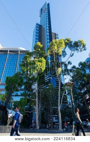 Melbourne, Australia - January 16, 2018: Eureka Tower is the tallest building in Melbourne. It is the site of the Eureka Skydeck observation deck.
