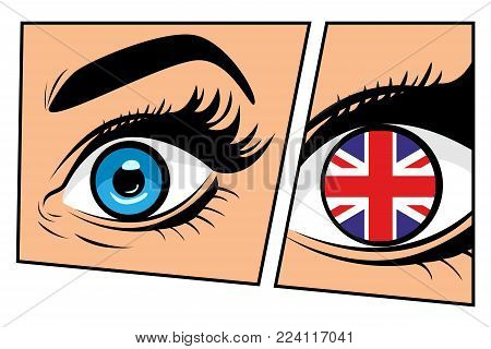 Flag of the Great Britain in beautiful male or female eye comic storyboard pop art retro style. Sexy surprised woman with open mouth. Colorful vector background in pop art retro comic style.