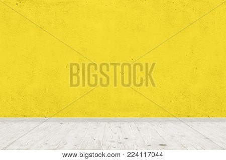 Vintage room interior with yellow concrete wall and wood floor background. Wide panorama image