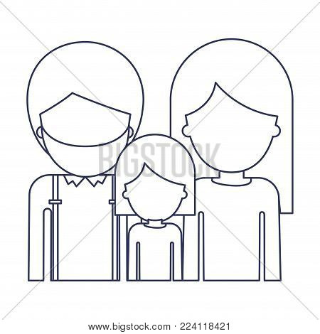 half body faceless people with man with beard and girl and woman with long straight hair in blue contour vector illustration