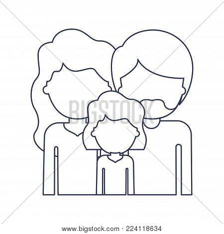 half body faceless people with woman and girl with wavy hair and man with beard in blue contour vector illustration