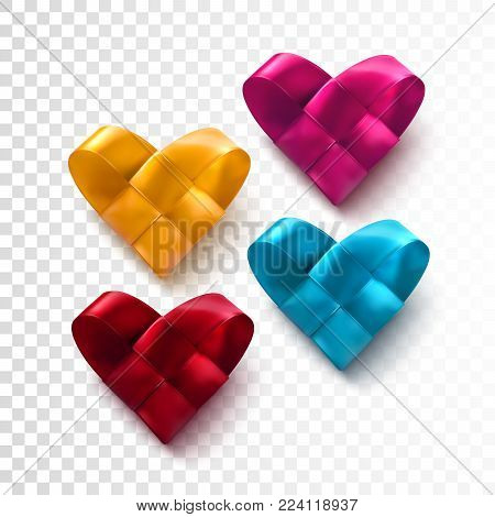 Set of colorful realistic woven hearts. Valentine day symbol of braided silk ribbon hearts isolated on transparent background. Vector holiday illustration. Festive decoration element for banner design