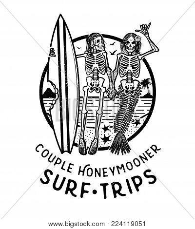 Vector Logo Illustration with Skeleton Surfer and Mermaid. Vintage Surfing Emblem for web design or print. Surfer logo templates. Surf Badge. Surfboard elements.