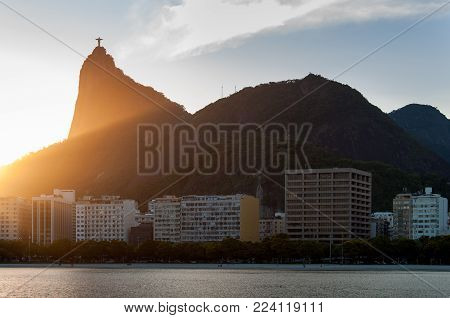 Corcovado Mountain by Sunset View, with Buildings of Botafogo District Below