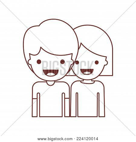 half body people with boy in t-shirt and short hair and girl in t-shirt long sleeve and short hair in brown contour vector illustration