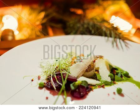 Christmas holiday festive meal. Exquisite restaurant dish. Healthy food concept poster