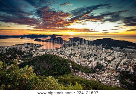 Colorful Rio de Janeiro View by Sunrise with Dramatic Sky and the Sugarloaf Mountain