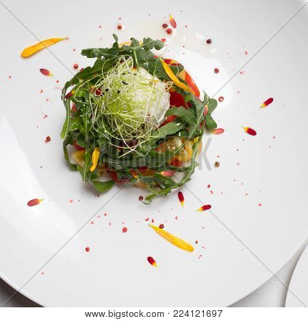 Healthy organic vegetable salad. Vegetarian food background. Fine dining concept