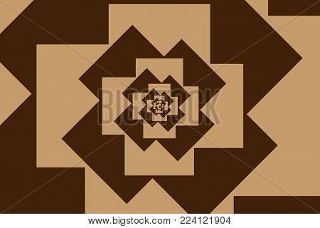 Spiral of rotating squares, Spiral from squares - brown pattern