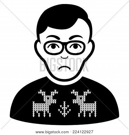 Dolor Deers Pullover Downer vector pictograph. Style is flat graphic black symbol with sadly feeling.