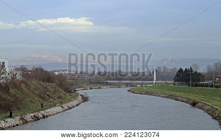 view of Nisava river in serbian city Nis